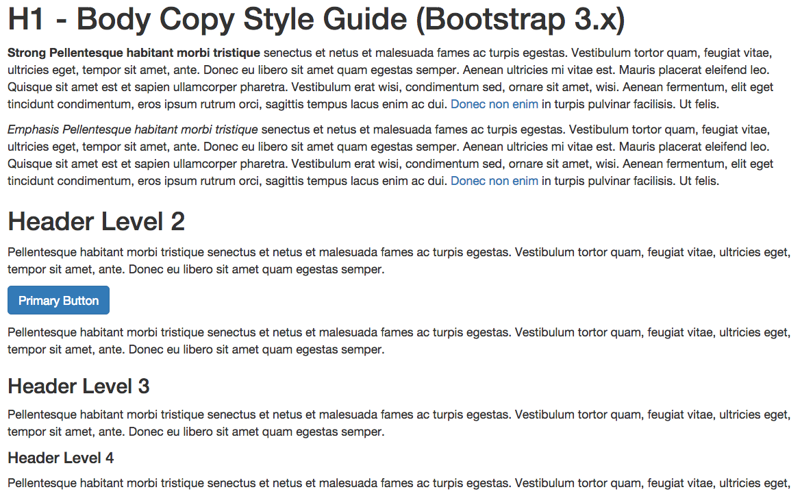 body copy style guide example