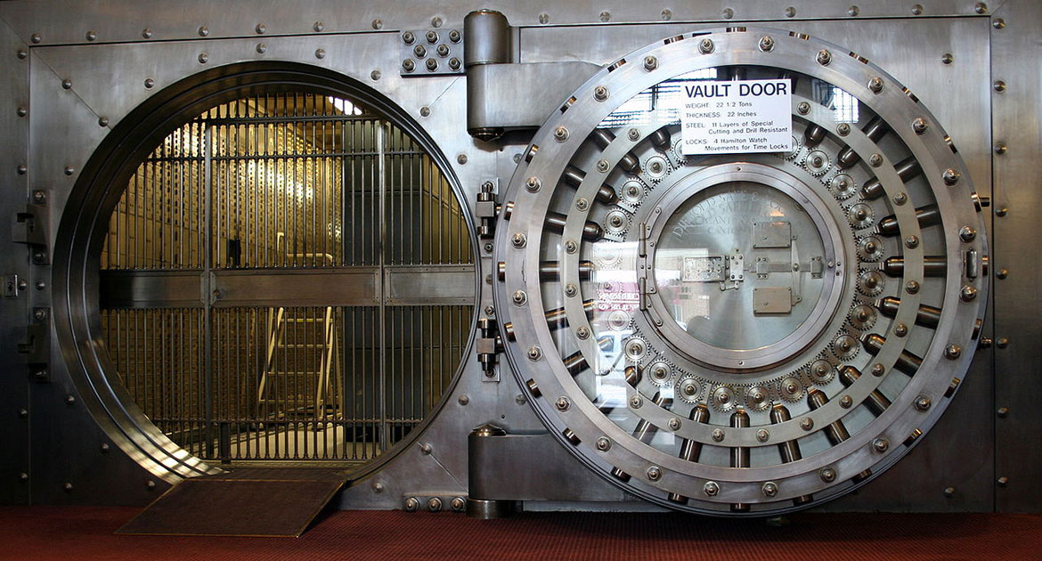 Bank Vault Illustrating Security