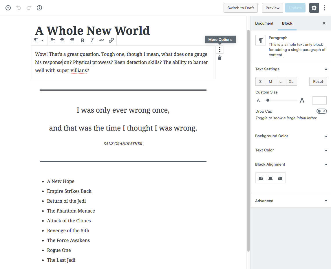 Screenshot of WordPress Block-based Editor (a.k.a. Gutenberg).