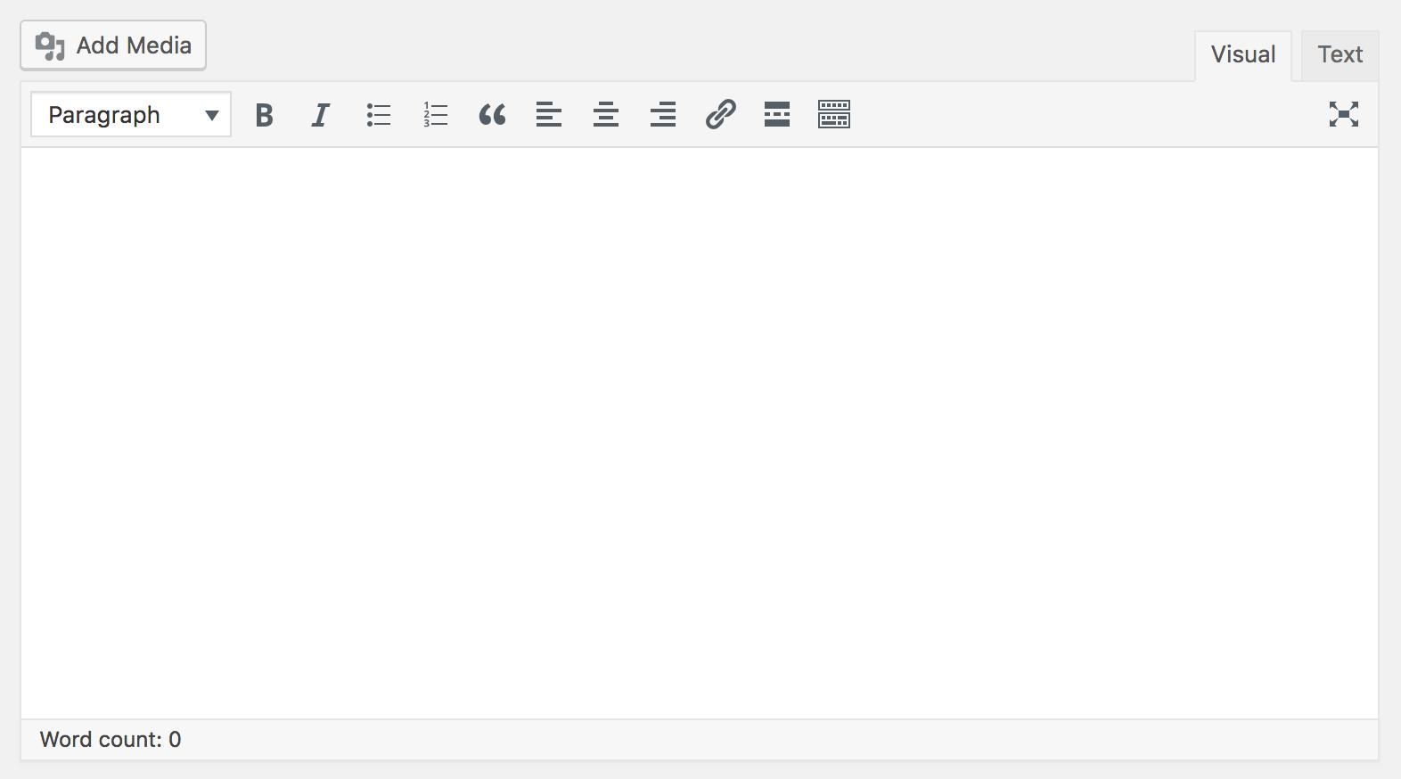 Screenshot of WordPress Legacy Editor